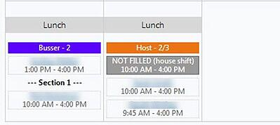 Employee Schedule Section View